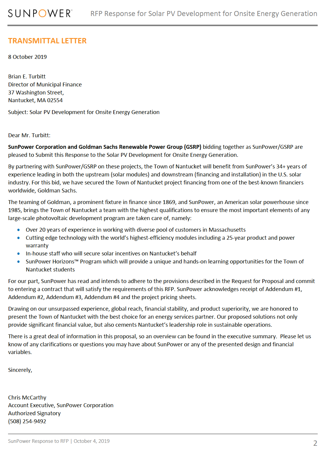 SunPower Bid Proposal Cover Letter Example