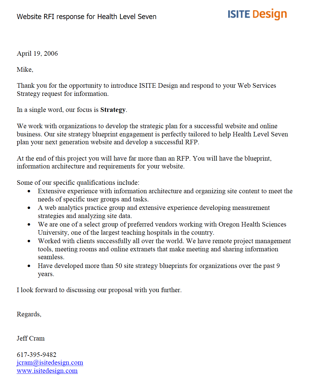 ISITE Proposal Cover Letter Sample