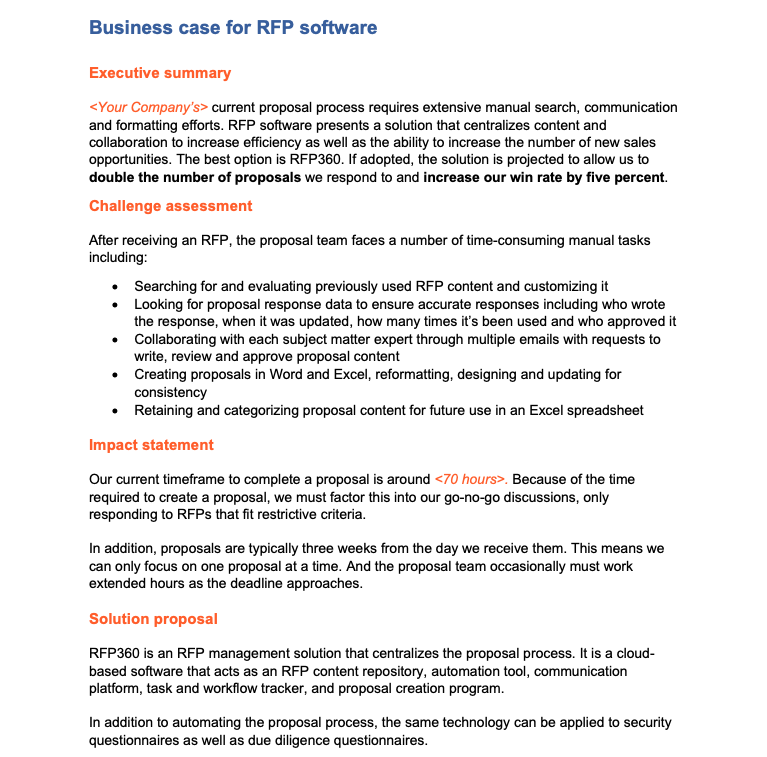 Software business case