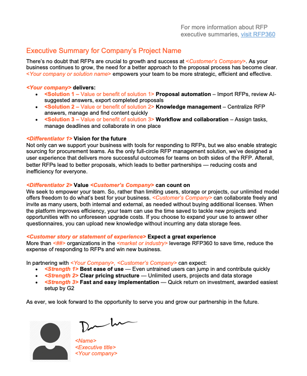 Executive summary sample for proposal template free
