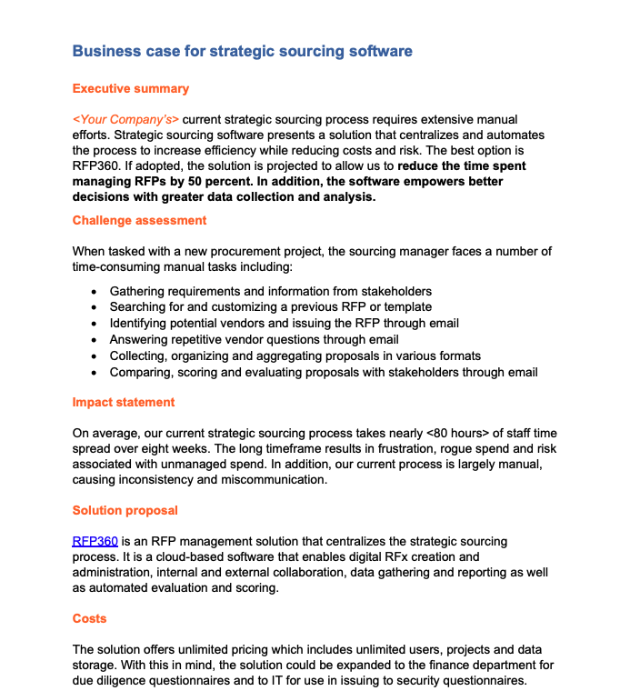 Strategic Sourcing Software Business Case 1