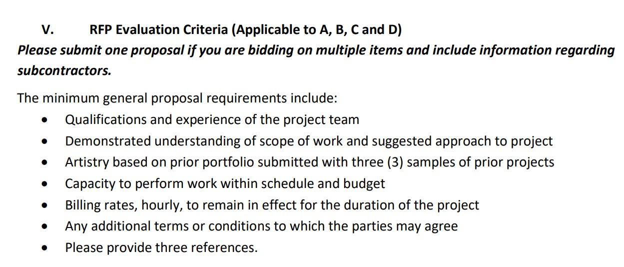 Marketing RFP evaluation criteria