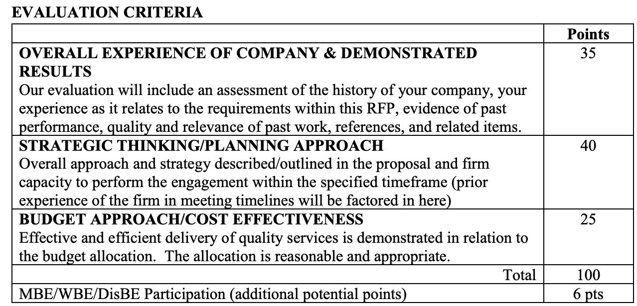 Employee benefits RFP evaluation criteria
