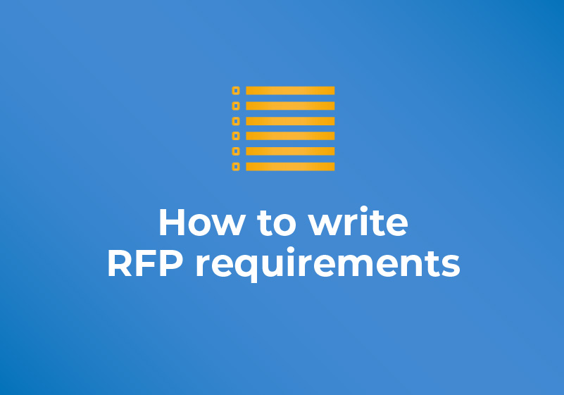 How to write RFP requirements blog featured image with title text and checklist icon